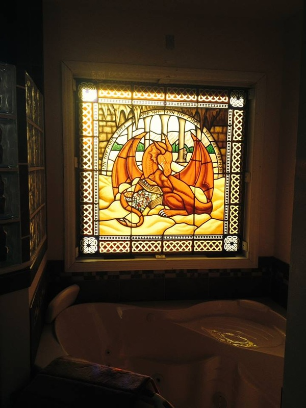 Picture Painted Stained Gl Bathroom Window